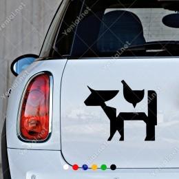 Bremen Mızıkacıları İnek Domuz Tavuk Sticker Yapıştırması