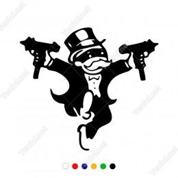 Elinde Silah Olan Monopoly Adam Sticker Yapıştırma