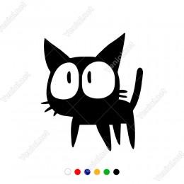 Gözleri Büyük Sevimli Kedi Sticker Yapıştırma
