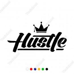 Hustle Yazısı Kral Tacı Araç ve Duvar İçin Sticker Yapıştırma