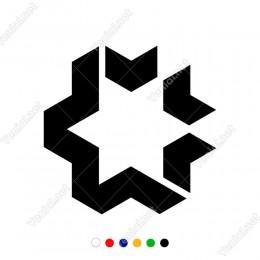 İç içe Girift Yıldız Sticker Yapıştırması Araç ve Duvar İçin
