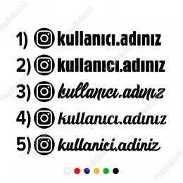 İnstagram Kullanıcı Adı Hesap Adı Sticker 2 Adet Araç Araba için