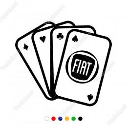 İskambil Kağıtları Fiat Logosu Sticker Yapıştırma