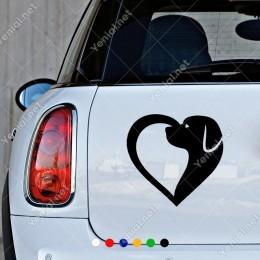 Kalp ve Köpek İşareti Petshop Araba Cam Vitrin Sticker