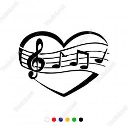 Kalp ve Müzik Notaları Etiket Sticker Yapıştırma