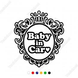 Kalpli Dekorlu Baby İn Car Yazısı Sticker Yapıştırması