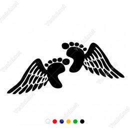 Kanat ve Bebek Ayağı Çift Yön Etiket Sticker Yapıştırma