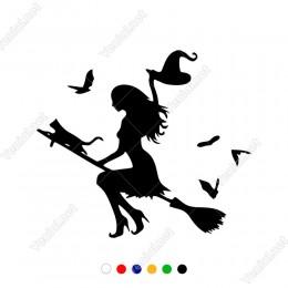Kedisi Kuşları İle Birlikte Uçup Giden Süpürgeli Cadı Sticker