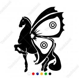 Kelebek Kanatları Olan At Sticker Yapıştırma