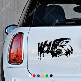 Kişilik Kanlı Kızgın Kurt Dışlerı Decal Araç Pencere Sticker