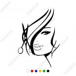 Makas Saç ve Kadın Kuaförü Etiket Sticker Yapıştırma