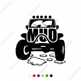 Mud Yazısı ve Ön Görünümden Jeep Görseli Sticker