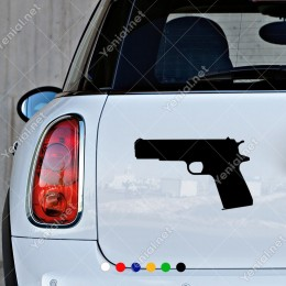 Sola Doğru Dönük Tabanca Silah Sticker Yapıştırma