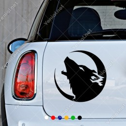 Sola Dönük Yırtıcı Yeleli Aslan Araç Araba Sticker