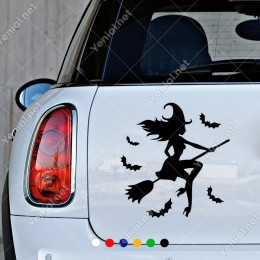 Süpürgeli Cadı ve Yarasalar Sticker Yapıştırması