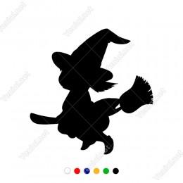 Süpürgesi İle Gezinen Sevimli Çocuk Cadı Sticker