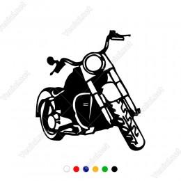 Tek Farlı Asaletli Harley Davitson Motor Sticker