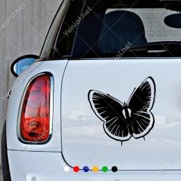 Uçup Giden Detaylı Kelebek Modifiye Araba Oto Sticker