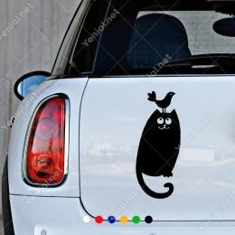 Üzerine Talih Kuşu Konmuş Kedi Sticker Yapıştırma