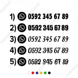 WhatsApp Numara Telefon Numarası Sticker 2 Adet - Araç Araba için