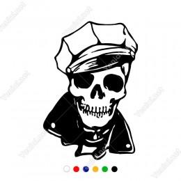 Yakışıklı Şapkalı Dişleri Görünen Kuru Kafa Sticker