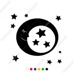 Yıldızlar ve Uyuyan Ay Duvar Sticker Yapıştırma