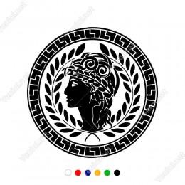 Yunan Arık Simgesi ve Taçlı Kadın Sticker Yapıştırma