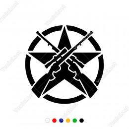 Yuvarlağın İçinde Awp Sniperlardan Oluşan Yıldız Efektli Sticker