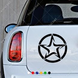 Yuvarlağın İçinde Keskin Çizglerden Oluşan Efektli Yıldız Sticker