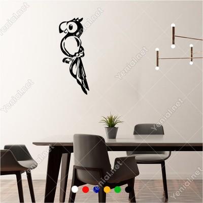 Ağaçta Duran Dikkatli Sevimli Papağan 23x60 cm Duvar Sticker