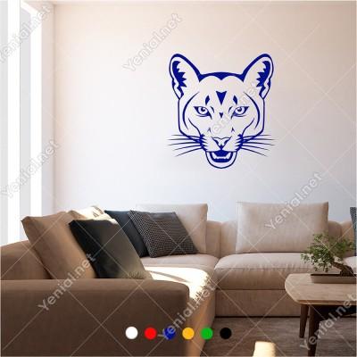 Ağzını Açmış Sevimli Aslan 60x60 cm Duvar Sticker