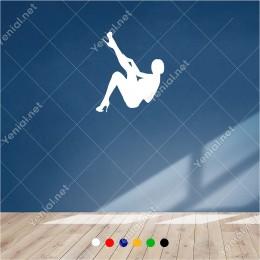 Ayağını Yukarıda Doğru Dans Eden Seksi Kadın 50x60 cm Duvar Sticker