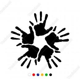 Beş Parmak ve Beş El İle Oluşturulmuş El İzi Sticker