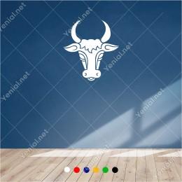 Boynuzu Yukarıya Doğru Öküz Başı 55x60 cm Duvar Sticker