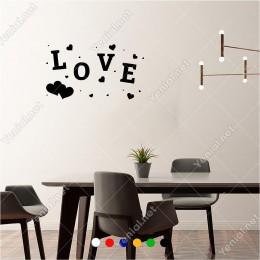 Büyüklü Küçüklü Kalp ve Love Yazısı 60x30 cm Duvar Sticker