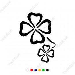 Dört Yapraklı Menekşe Çiçeği İki Parçalı Sticker