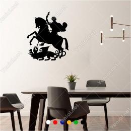 Ejderha ile Savaşan Eli Oklu Atlı Asker 50x60 cm Duvar Sticker