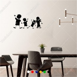 Ele Ele Tutuşmuş Musmutlu Çocuklar 60x30 cm Duvar Sticker