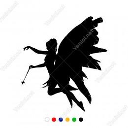 Elinde Sihir Çubuğu Olan Uçan Kanatlı Kız Sticker