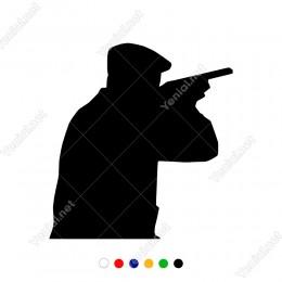 Elinde Tüfeği İle Av Yapan Avcı Adam Sticker