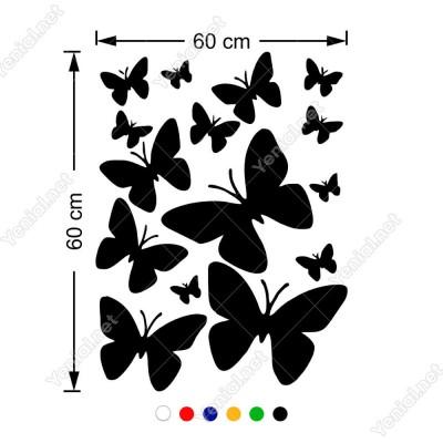 Farklı Ebat ve Çeşitte Kelebekler Butterfly 60x44 cm Duvar Sticker
