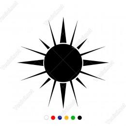 Güneş Üzerinde Kuzey Güney Simgesi Sticker