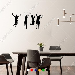 Havaya Doğru Heyacanlı Atlayan İnsanlar 60x30 cm Duvar Sticker