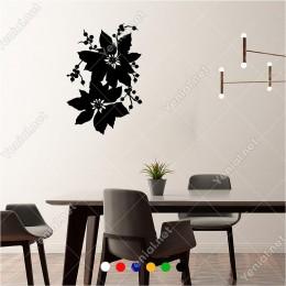 İki Adet Şık Yılbaşı Süslemesi Çiçek 40x60 cm Duvar Sticker
