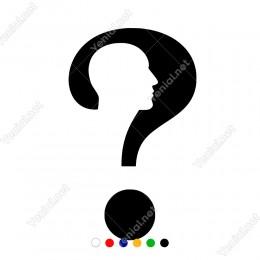 İnsan Başı ve Büyük Soru İşareti Sticker