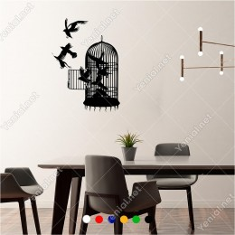 Kafesten Özgürlüğü Doğru Uçan Kuşlar 43x60 cm Duvar Sticker