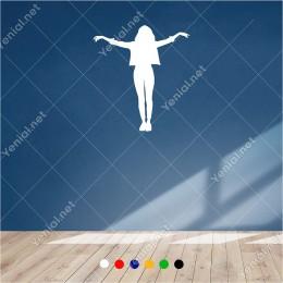 Kollarını Geniş Şekilde Açan Sırtı Dönük Kadın 54x60 cm Duvar Sticker