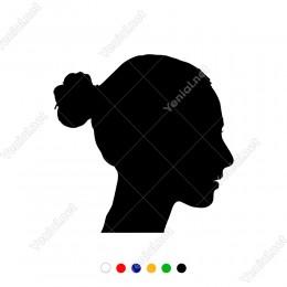 Saçları Bağlı Yandan Görünüm Kadın Başı Sticker