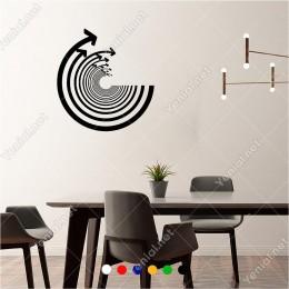 Silindir Yuvarlak Oluşturmuş Oklar 60x60 cm Duvar Sticker