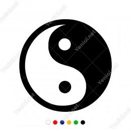 Siyah Beyaz Denge Tai Chi Simgesi Sticker